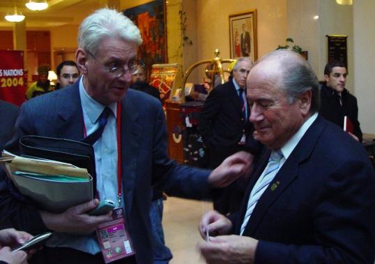 ISL Chef Jean Marie Weber mit Fifa Chef Sepp Blatter