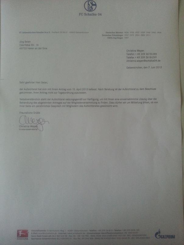 Am 08.06 2013 um ca. 17:30 traf diese Ablehnung per Direktkurier bei mir ein!  Offen bleibt warum die Ablehnung erfolgte, offen bleibt auch ob beide Anträge abgelehnt wurden oder nur einer.