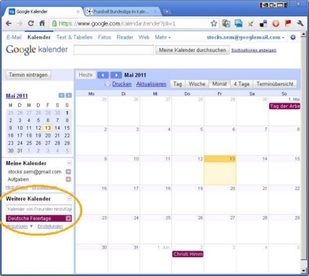 """Eigenen Kalender öffnen und """"Weitere Kalender"""" hinzufügen"""