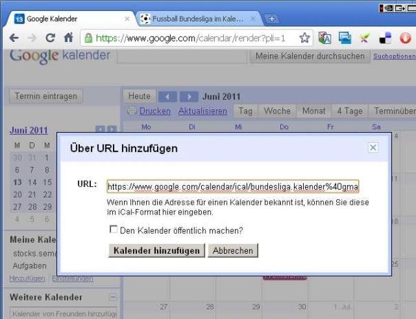 Hier ist die URL, die eingefügt werden muss: https://www.google.com/calendar/ical/spielplan.fussball.wm%40gmail.com/public/basic.ics (markieren und kopieren, dann einfügen)