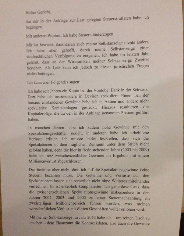 Das Geständnis des Uli Hoeneß.....