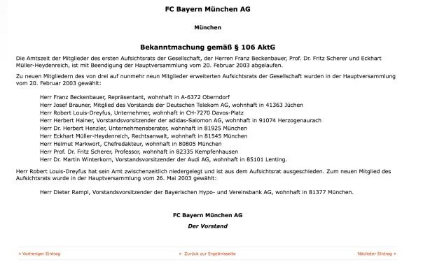 Robert-Louis Dreyfus Mitglied des Aufsichtsrars der FC Bayer München AG bis 2003