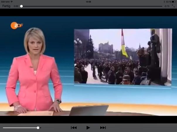 Heute Journal  vom 28.03.2014 Demonstrationen in Kiev. Berichtet wird von Anti-Janukowitsch Demonstrationen!