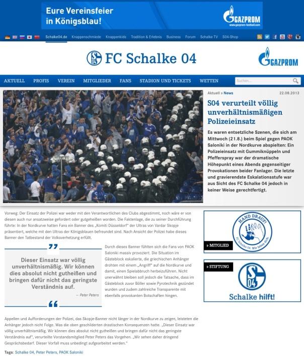 FC Schalke 04 News vom 22.08.2013  Polizeieinsatz nicht abgesprochen und nicht angemessen.