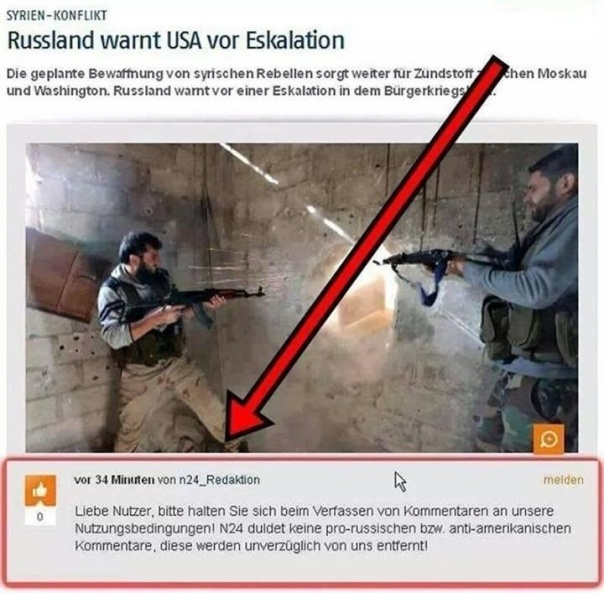 N24 Redaktion verbietet Ant-Amerikanische und Pro-Russische Kommentare Screenshot vom 18.04.2014