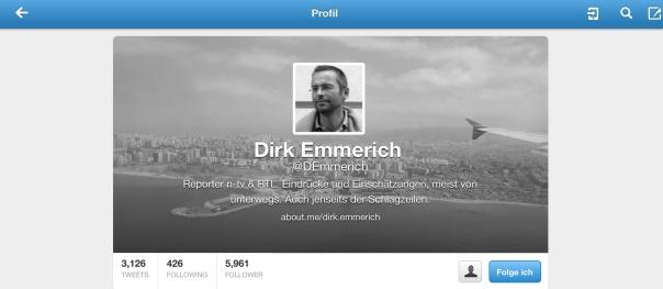 Twitter-Account des angeblichen n-TV und RTL Journalisten. In Wahrheit ist er Angestellter bei infoNetwork ist mehr als eine Produktionsgesellschaft: mit der Agentur ContentFirst verkauft iN (infoNetwork) eigenproduzierte Videos und Formate weltweit.