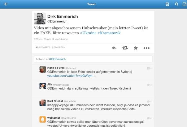 Hubschrauber Tweet ist ein Fake, trotz Aufforderung diesen dann doch bitte zu löschen, verbleibt dieser weiterhin im Netz.