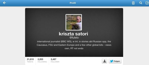Twitter Account der angeblichen BBC Journalistin Kriszta Satori alias @fulelo