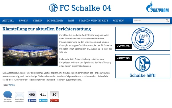 Meldung des FC Schalke 04 vom 03.04.2014 zu den internen Veränderungen.