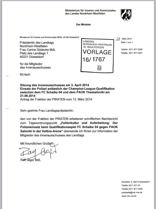 Nachbericht des Innenministers Jäger v. 28.03.2014 zum CL Spiel Schalke Saloniki