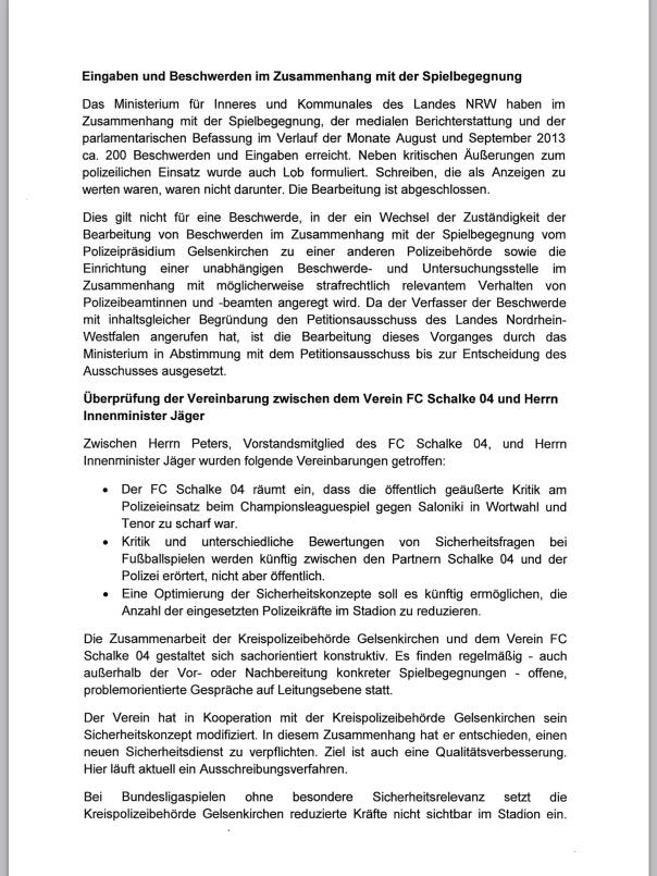Seite 2 Nachbericht des Innenministers Jäger v. 28.03.2014 zum CL Spiel Schalke Saloniki