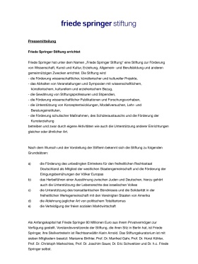 Pressemitteilung Friede Springer  Gründung der Friede-Springer-Stiftung Januar 2011 Seite 1/2
