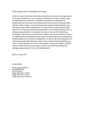 Pressemitteilung Friede Springer  Gründung der Friede-Springer-Stiftung Januar 2011 Seite 2/2