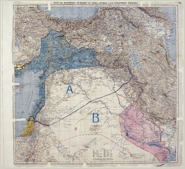 Sykes-Picot map 1916 – blue  for France; pink for Great Britain (Area A = French influence; Area B (above red dotted line) = British influence)