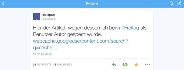 """Beitrag von """"Linkspazi"""" gelöscht! """"Der Freitag"""" und die Meinungsfreiheit"""