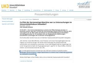 Pressemitteilung der Uni Düsseldorf  German Wings Co-Pilot