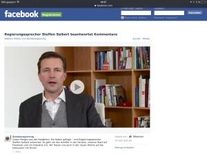 Der Facebook Auftritt der Bundesregierung  Begrüßungsvideo von Regierungssprecher Seifert vom 01. März 2015