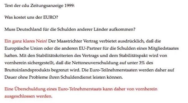 Das Versprechen der CDU zur EURO Einführung 1999! Zeitungsanzeige CDU 1999