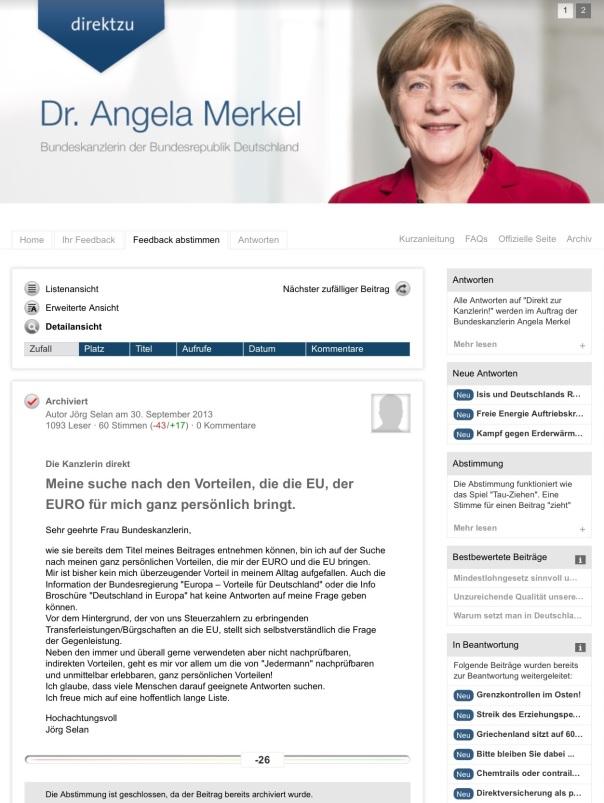 Meine Frage an die Bundeskanzlerin im September 2013...blieb leider ohne Antwort!