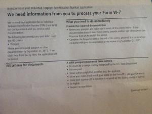 Antwort der US-Finanzbehörde auf meinen Antrag (Form W-7) auf Erteilung einer US-Steuernummer (ITIN)