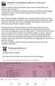 Der geteilte Facebook- Beitrag der Ruhrknappen mit dem Kommentar...