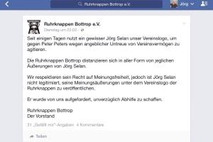 Screenshot des Facebook Beitrags der Ruhrknappen Bottrop vom 15.09.2015