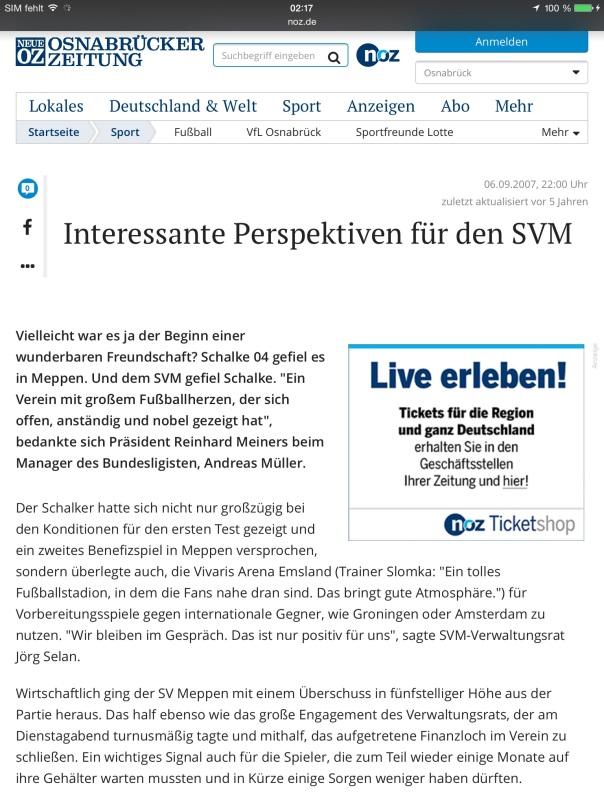Artikel der NOZ zum Spiel des SV Meppen gegen meinen FC Schalke 04
