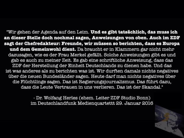 """Wolfgang Werles Aussagen zu """"Anweisungen von oben... Das Hauptstadquartet Deutschlandfung ab 28:00 min."""