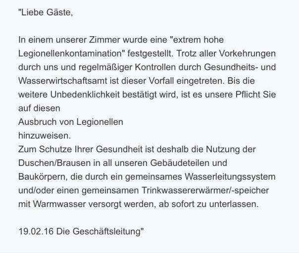 Legionellen - Info der Geschäftsleitung des Strandhotels Georgshöhe an die Hotelgäste vom 19.02.2016