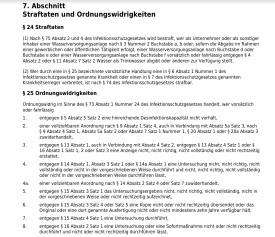 Legionellen - TrinkwV 7. Abschnitt §24+25 Straftaten und Ordnungswidrigkeiten