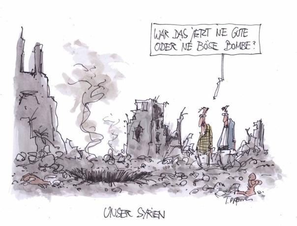 Gute Bomben, böse Bomben. Krieg ist für die Bevölkerung immer die schlimmste Lösung.