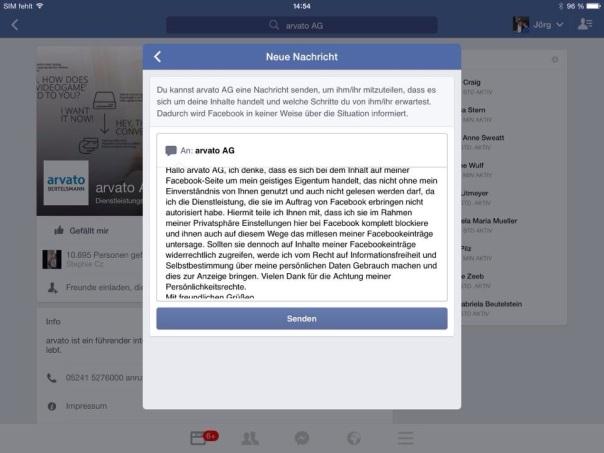Facebook Zensur durch Arvato. Mitteilung/Hinweis an Arvato auf meine Datenschutz und Urheberrechte